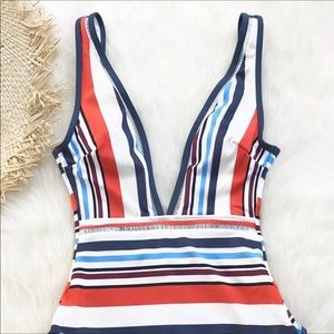 Cupshe Colorful Stripe Plunging One Piece Swimsuit